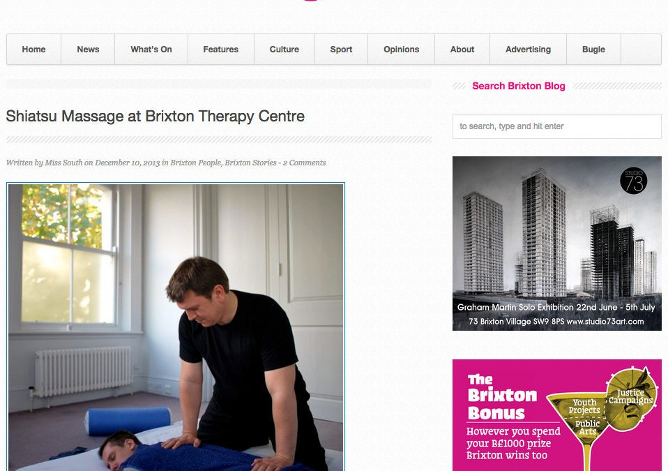 Shiatsu Feature on Brixton Blog