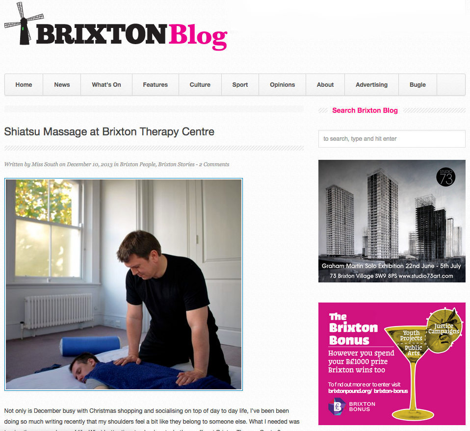 Tony Austin Shiatsu featured on Brixton Blog